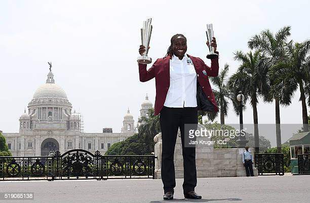 Stafanie Taylor Captain of the West Indies poses with the trophies during a photocall after winning the Final of the ICC Women's World Twenty20 at...