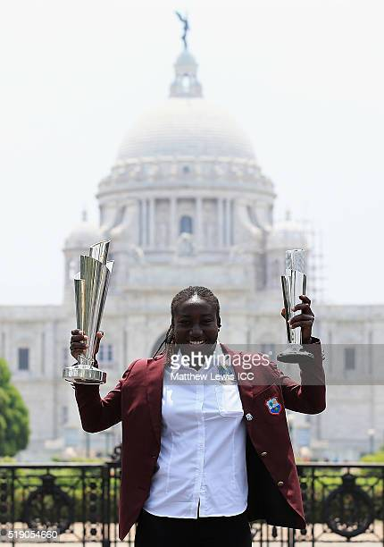 Stafanie Taylor Captain of the West Indies poses with the trophy during a photocall after winning the Final of the ICC Women's World Twenty20 on...
