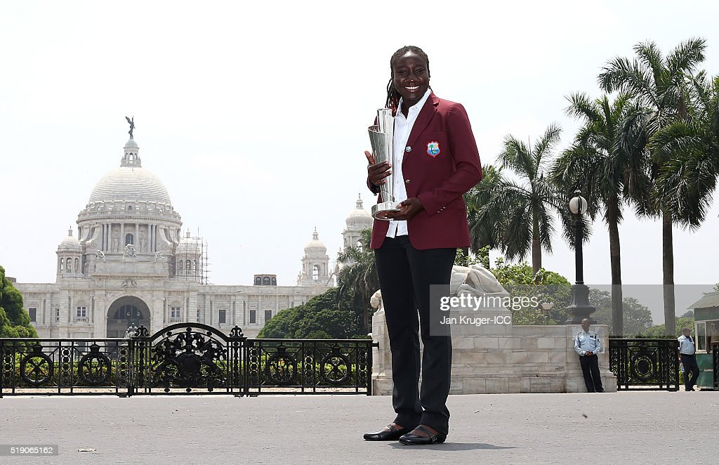 <a gi-track='captionPersonalityLinkClicked' href=/galleries/search?phrase=Stafanie+Taylor&family=editorial&specificpeople=5747707 ng-click='$event.stopPropagation()'>Stafanie Taylor</a>, Captain of the West Indies poses with the trophy during a photocall after winning the Final of the ICC Women's World Twenty20 at the Victoria Memorial on April 4, 2016 in Kolkata, India.