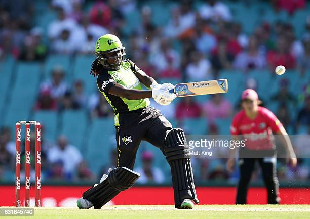 Stafanie Taylor of the Thunder bats during the super over during the Women's Big Bash League match between the Sydney Sixers and the Sydney Thunder...