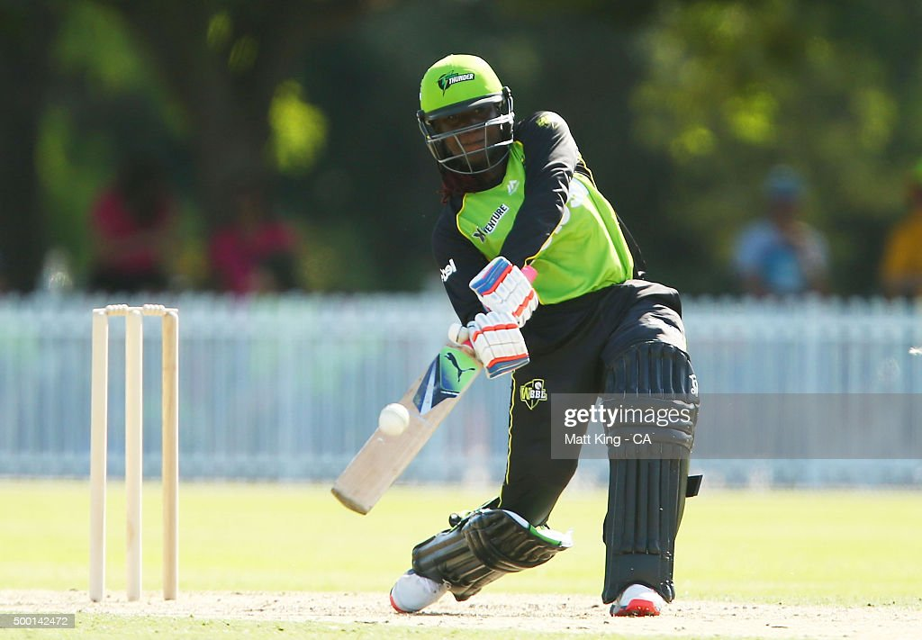 Stafanie Taylor of the Thunder bats during the Women's Big Bash League match between the Sydney Thunder and the Sydney Sixers at Howell Oval on December 6, 2015 in Sydney, Australia.