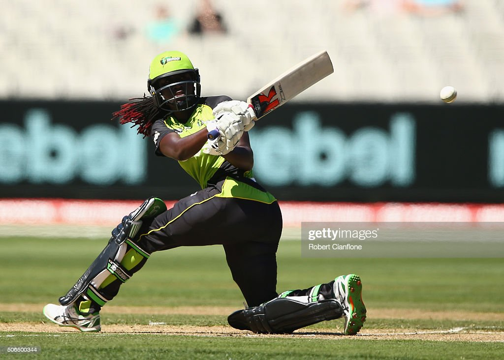 <a gi-track='captionPersonalityLinkClicked' href=/galleries/search?phrase=Stafanie+Taylor&family=editorial&specificpeople=5747707 ng-click='$event.stopPropagation()'>Stafanie Taylor</a> of the Thunder bats during the Women's Big Bash League Final match between the Sydney Thunder and the Sydney Sixers at the MCG on January 24, 2016 in Melbourne, Australia.