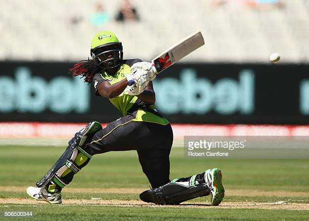 Stafanie Taylor of the Thunder bats during the Women's Big Bash League Final match between the Sydney Thunder and the Sydney Sixers at the MCG on...