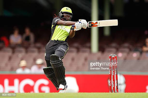 Stafanie Taylor of the Thunder hits for six during the Women's Big Bash League match between the Sydney Sixers and the Sydney Thunder at Sydney...