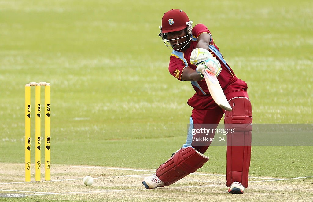 Stafanie Taylor of the West Indies bats of the West Indies bat during game one of the women's One Day International series between Australia and the West Indies at Hurstville Oval on November 11, 2014 in Sydney, Australia.