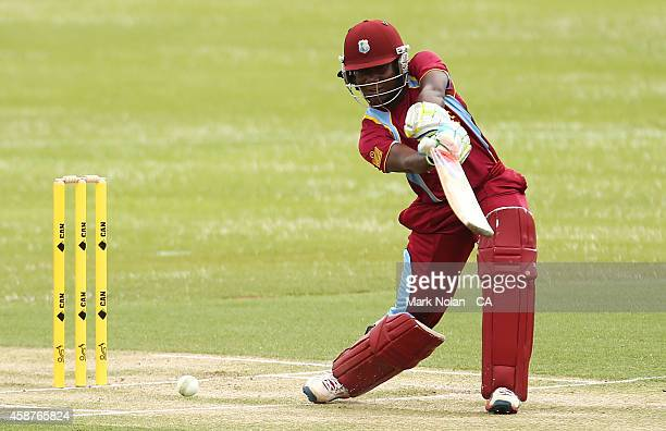 Stafanie Taylor of the West Indies bats of the West Indies bat during game one of the women's One Day International series between Australia and the...