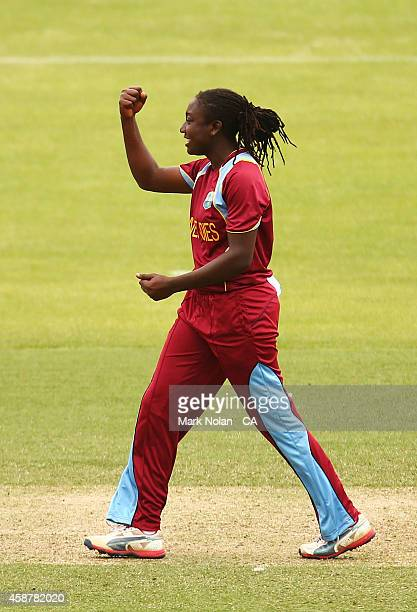 Stafanie Taylor of the West Indies celebrates a wicket during game one of the women's One Day International series between Australia and the West...