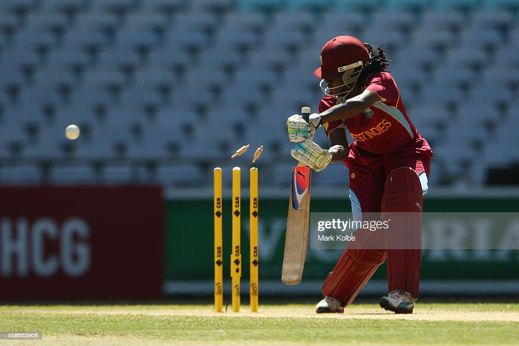 <a gi-track='captionPersonalityLinkClicked' href=/galleries/search?phrase=Stafanie+Taylor&family=editorial&specificpeople=5747707 ng-click='$event.stopPropagation()'>Stafanie Taylor</a> of the West Indies is bowled during game four of the women's International Twenty20 series between Australia and the West Indies at ANZ Stadium on November 9, 2014 in Sydney, Australia.