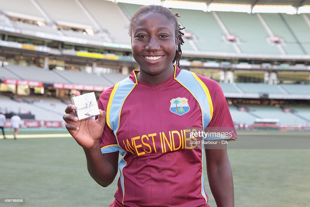 Stafanie Taylor of the West Indies poses with the Player of the Match award during game three of the International Women's Twenty20 match between Australia and the West Indies at Melbourne Cricket Ground on November 7, 2014 in Melbourne, Australia.