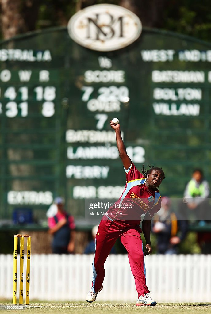 <a gi-track='captionPersonalityLinkClicked' href=/galleries/search?phrase=Stafanie+Taylor&family=editorial&specificpeople=5747707 ng-click='$event.stopPropagation()'>Stafanie Taylor</a> of West Indies bowls during the Women's One Day International match between Australia and the West Indies on November 16, 2014 in Bowral, Australia.