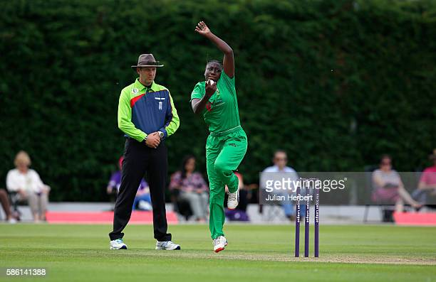 Stafanie Taylor of Western bowls during the Kia Super League women's cricket match between Loughbrough Lightning and Western Storm at The Haslegrave...