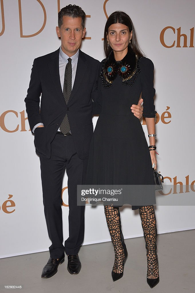 Stafano Tonchi and Giovanna Battaglia (L) attend The Chloe 60th Anniversary Celebration at Palais De Tokyo on September 28, 2012 in Paris, France.