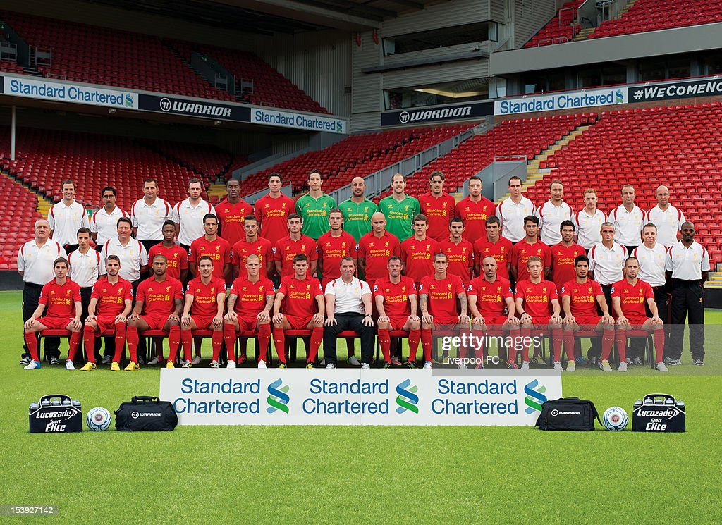 Staff and members of the Liverpool Football Club squad pose for a team photograph during the the 2012-2013 Official Liverpool FC team photograph session at Anfield in Liverpool, England. (Back Row: L-R) Chris Davies (Head of Opposition Analysis), Dr Zaf Iqbal (Head of Medicine), John Achterberg (Goalkeeping Coach), Chris Morgan (Senior Physiotherapist), Andre Wisdom, Martin Kelly, Brad Jones, Jose Reina, Peter Gulasci, Sebastian Coates, Danny Wilson, Glen Driscoll (Head of Performance), Jordan Milsom (Rehab Fitness Coach), Matt Konopinski (Physiotherapist), Ray Haughan (Team Administration Manager), Lee Radcliffe (Kit Manager). (Middle Row: L-R) Graham Carter (Kit Coordinator), Paulo Barreira (Physiotherapist), Colin Pascoe (Assistant Manager), Raheem Sterling, Nuri Sahin, Samed Yesil, Jack Robinson, Jordan Henderson, Jonjo Shelvey, Jonathan Flanagan, Oussama Assaidi, Adam Morgan, Suso, Danny Pacheco, Mike Marsh (First Team Coach), Paul Small (Masseur), Sylvan Richardson (Masseur). (Front Row: L-R) Joe Allen, Fabio Borini, Glen Johnson, Stewart Downing, Martin Skrtel, Steven Gerrard (Captain), Brendan Rodgers (Team Manager), Jamie Carragher, Daniel Agger, Jose Enrique, Lucas Leiva, Luis Suarez, Joe Cole.