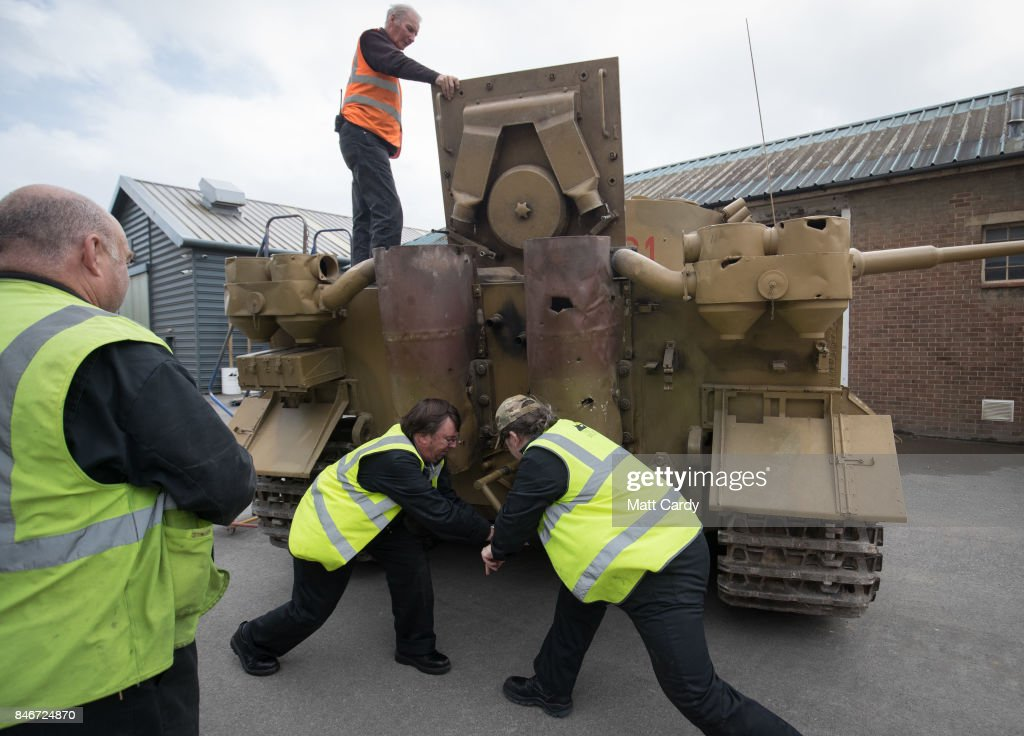 Staff and volunteers help prepare a German Tiger Tank, the only working example in the world, at the Bovington Tank Museum ahead of this weekend's Tiger Day when the WW2 tank, Tiger 131, will be demonstrated to the public, on September 13, 2017 in Dorset, England. Bovington The Tank Museum is home to Tiger 131, which was captured intact by the allies during fierce fighting in the Tunisian desert in 1943 and is currently part of a world-first exhibition, The Tiger Collection, which showcases the entire Tiger family side-by-side. Such was the importance of its capture that Prime Minister Winston Churchill and King George VI went to North Africa be pictured with it.
