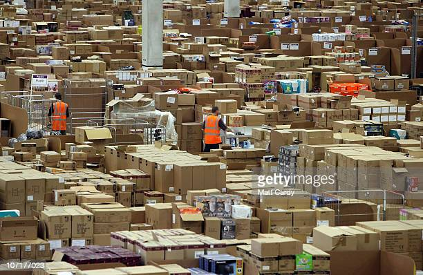 Staff at the Amazon Swansea fulfilment centre process orders as they prepare for what is expected to be their busiest Christmas on record on November...