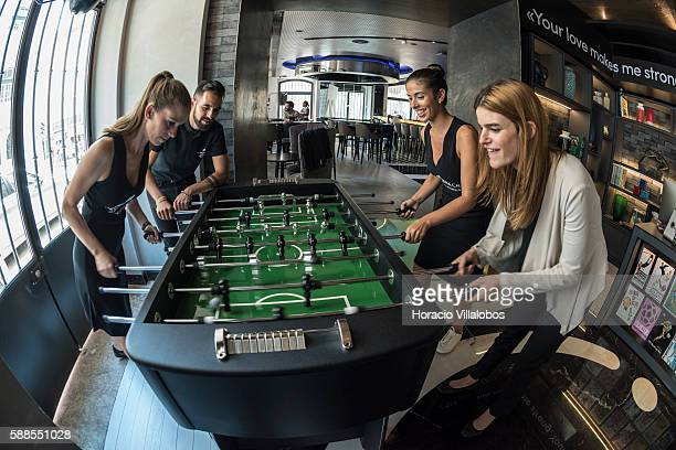 Staff enjoy a game of Table football in the lobby of Pestana CR7 Lisboa Hotel on August 11 2016 in Lisbon Portugal Pestana CR7 Lisboa Hotel a...