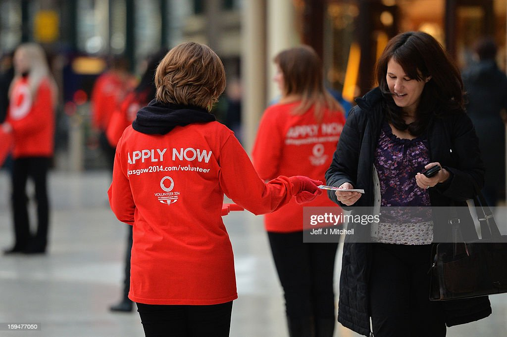 Staff from Glasgow 2014 help with the opening of volunteer applications on January 14, 2013 in Glasgow,Scotland. Up to 15,000 people will be needed to help out at Glasgow's 2014 Commonwealth Games at various venues and athletes' village and successful applicants will be invited to interview from April.