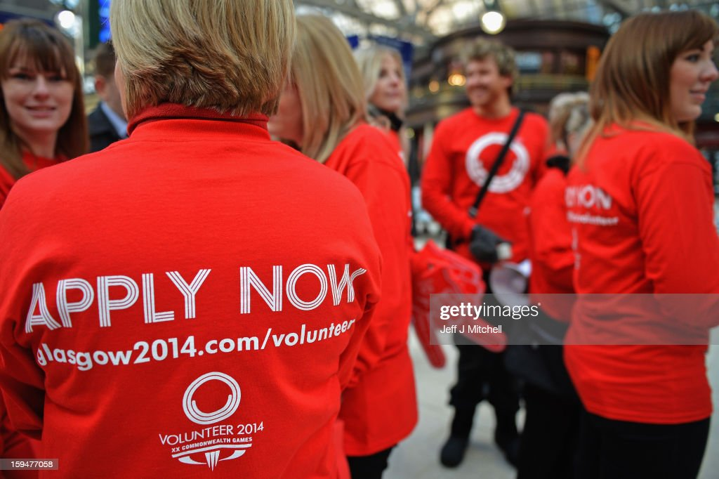 Staff from Glasgow 2014 help with the opening of volunteer applications on January 14, 2013 in Glasgow,Scotland.Up to 15,000 people will be needed to help out at Glasgow's 2014 Commonwealth Games at various venues and athletes' village and successful applicants will be invited to interview from April.