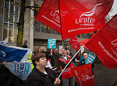 NHS staff gather at a picket line outside the St Michael's Hospital on October 13 2014 in Bristol England Thousands of NHS workers including nurses...