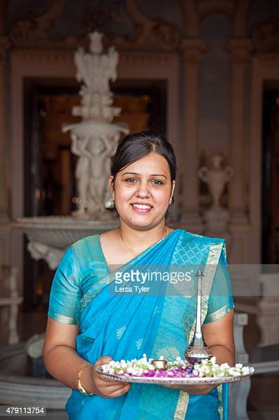 PALACE HYDERABAD TELANGANA INDIA Staff member at Falaknuma Palace in Hyderabad a rambling scorpion shaped mansion meaning mirror of the sky and...