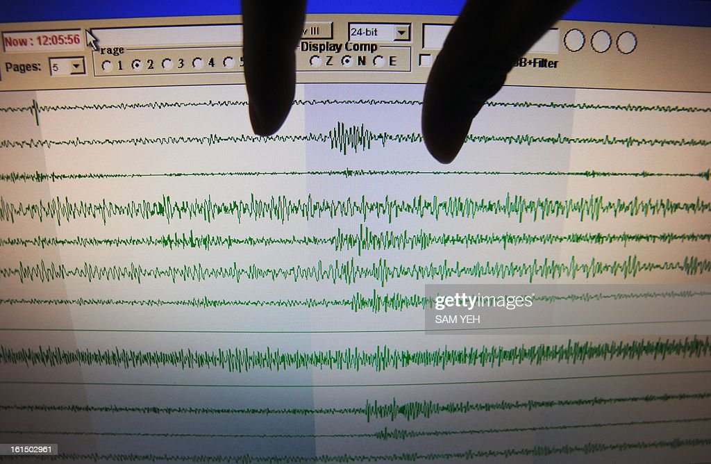 A staff member from Taiwan's Seismology Center explains the seismic movements believed to be caused by a North Korean nuclear test, at the Central Weather Bureau in Taipei on February 12, 2013. North Korea staged an apparent nuclear test of six to seven kilotons in a striking act of defiance that, if confirmed, is sure to trigger global condemnation from enemies and allies alike. AFP PHOTO / Sam Yeh