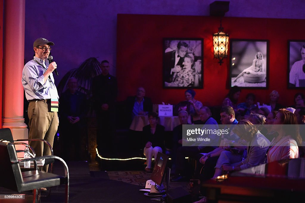 TCM staff member speaks onstage during 'A Conversation with Gina Lollobrigida' during day 4 of the TCM Classic Film Festival 2016 on May 1, 2016 in Los Angeles, California. 25826_008