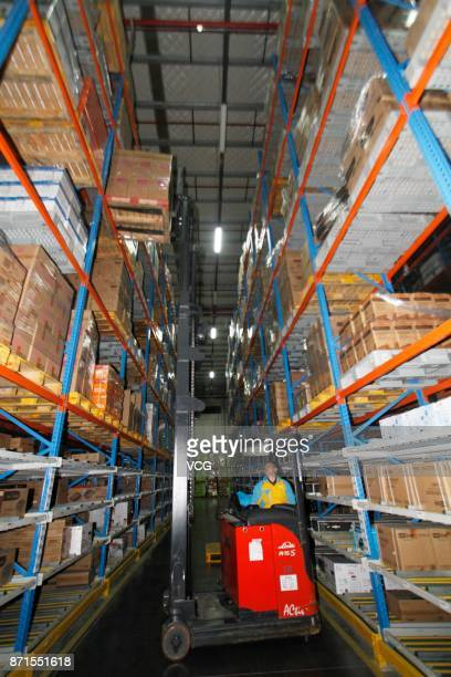 A staff member works at Suning cloud warehouse ahead of the Double 11 global shopping festival on November 7 2017 in Nanjing Jiangsu Province of...