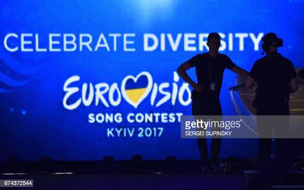 TOPSHOT Staff members test the stage at the International Exhibition Centre in Kiev on April 28 2017 ahead of the 2017 Eurovision song contest that...