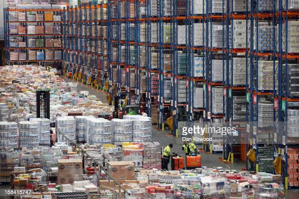 Staff move goods stored at Sainsbury's Waltham Point distribution depot on December 14 2012 in Waltham Abbey England The 700000 square foot...