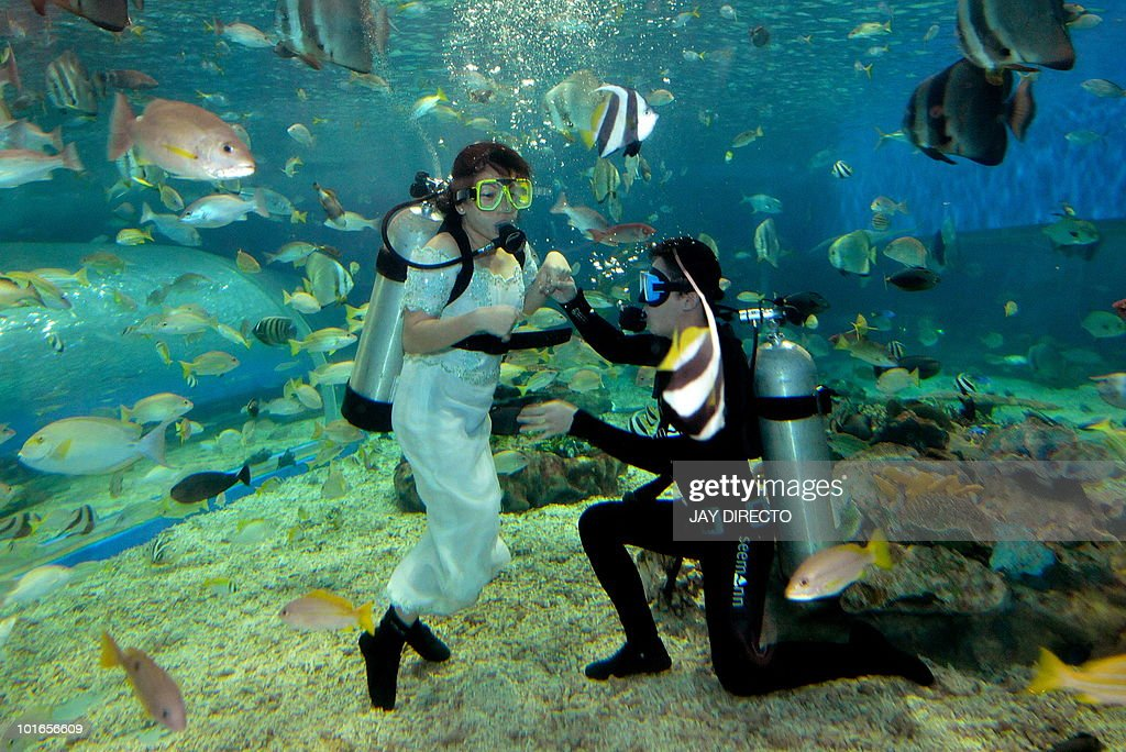 Staff of a marine theme park in Manila Bay dress as a 'bride and groom' as they scuba dive on June 6, 2010. The park staged the stunt called 'June Weddings' to attract more visitors. AFP PHOTO/Jay DIRECTO
