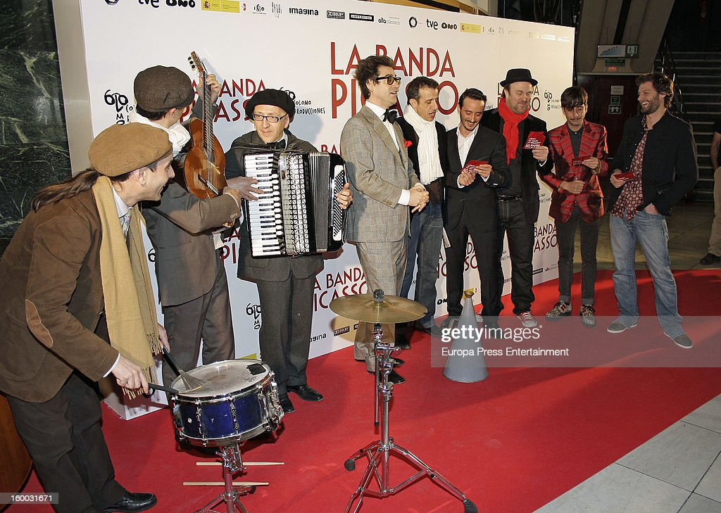 Staff of 'La Banda Picasso' attend premiere of the film on January 24, 2013 in Madrid, Spain.