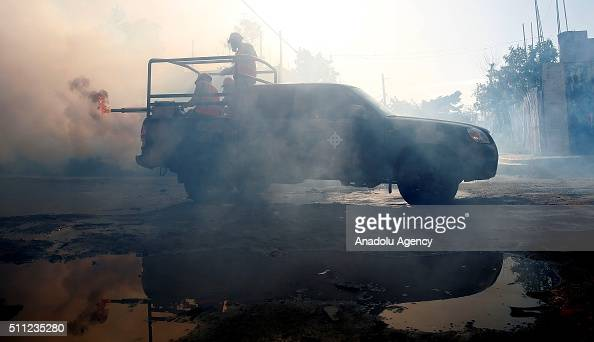 Staff of the Dominican Air Force sprayed the Brisas del Este neighborhood during an operation to combat the mosquito aedes aegypti that transmits the...
