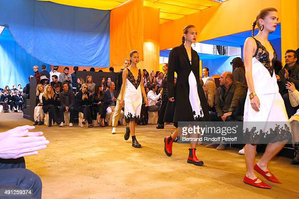Staff of Vogue France and Vanity Fair attend the Celine show as part of the Paris Fashion Week Womenswear Spring/Summer 2016 on October 4 2015 in...