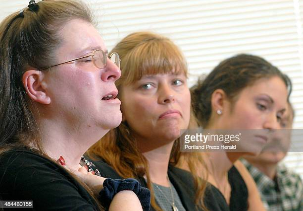 Staff photo by Doug Jones Thursday July 12 2007 Judy francoeur left aunt of murder victim Nicole Oliver fights back tears as she describes the...