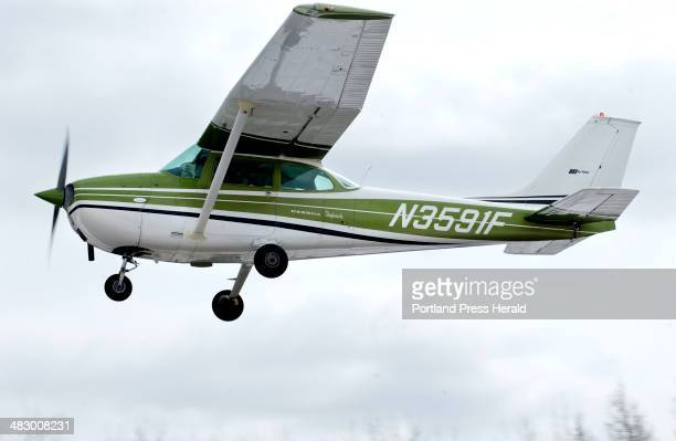 Staff Photo by Gordon Chibroski Friday March 19 2004 Planes like this Cessna 172 and larger ones that use the Wiscasset Airport are bothering a...
