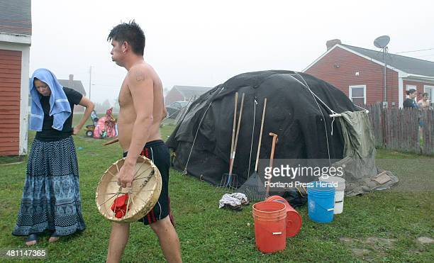 Staff Photo by Gregory Rec Tuesday September 9 2003 Kani Malsom lets out a breath of air after getting out of a sweat lodge in his backyard on the...