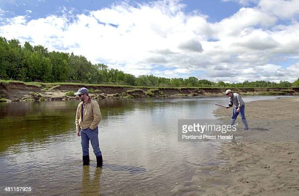 Staff Photo by John Patriquin Thu Jun 07 2001 Jock Conyngham dir of watershed assesment geomorphic restoration for Trout Unlimited and John Parish...