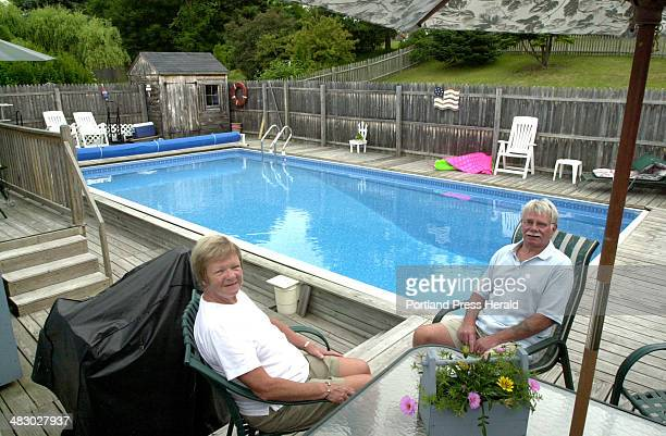 Staff Photo by John Patriquin Tuesday July 13 2004 Pat and Jim Thomson are selling their home in South Portland with this beautiful backyard swimming...