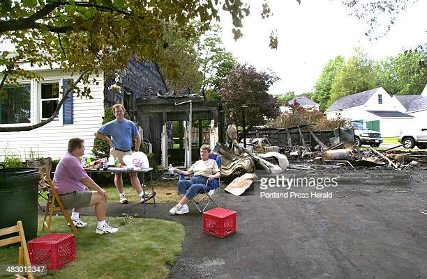 Staff Photo by John Patriquin Wednesday September 1 2004 Homeowner Evelyn Reynolds sits in her front yard at 7 Spurwink Ave in South Portland with...