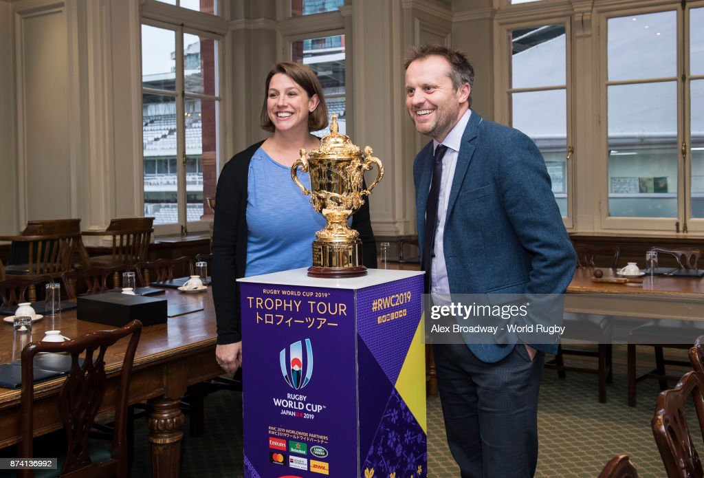 MCC Staff pose for a photograph with The Webb Ellis Cup during the Rugby World Cup 2019 Trophy Tour at Lords on November 14, 2017 in London, England.