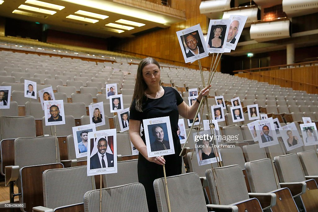 Staff prepare seating arrangements for the annual heads on sticks photocall ahead of the House of Fraser British Academy Television Awards on May 5, 2016 in London, England.