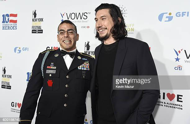 Staff Sergeant US Army Michael Kacer and Actor Adam Driver attend as The New York Comedy Festival and The Bob Woodruff Foundation present the 10th...