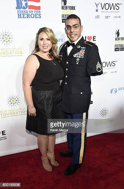 Staff Sergeant US Army Michael Kacer and Jessica Schulman attend as The New York Comedy Festival and The Bob Woodruff Foundation present the 10th...