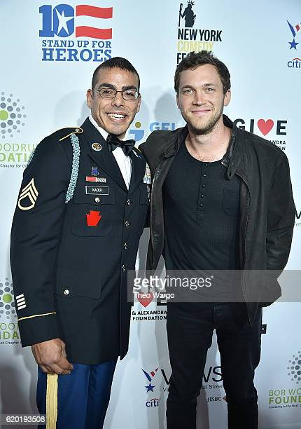 Staff Sergeant US Army Michael Kacer and singer songwriter Phillip Phillips attend 10th Annual Stand Up For Heroes at The Theater at Madison Square...