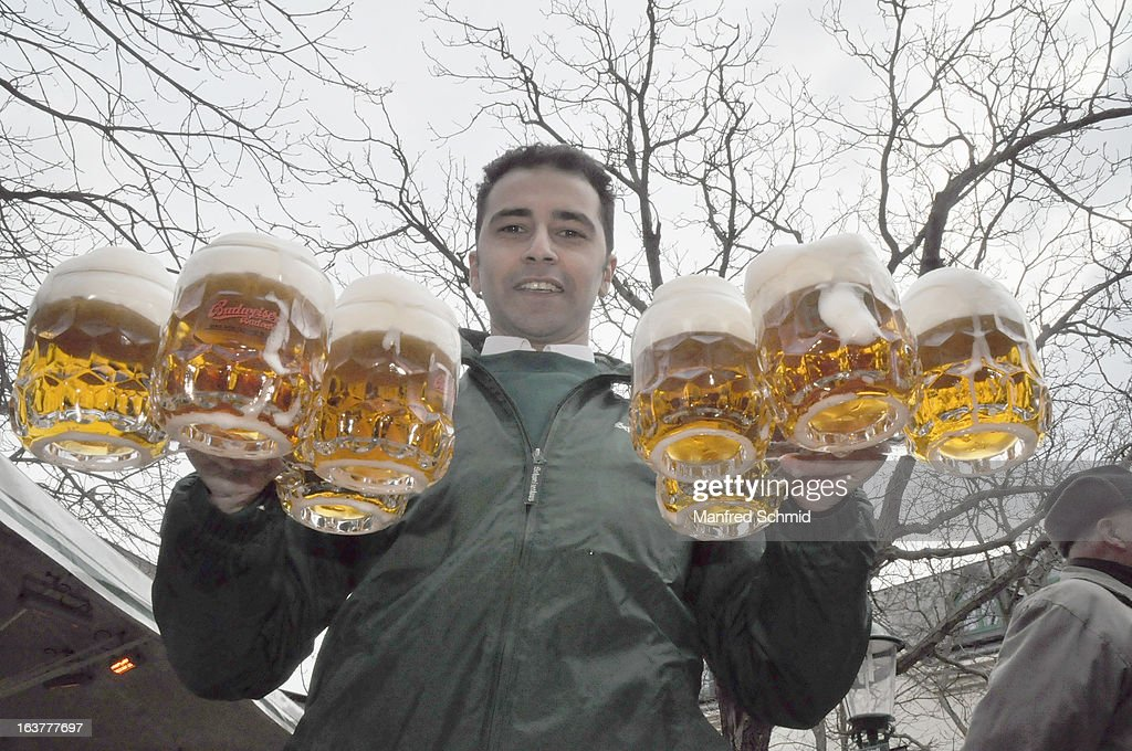 A Staff with some beer during the opening of Schweizerhaus Wien on March 15, 2013 in Vienna, Austria.