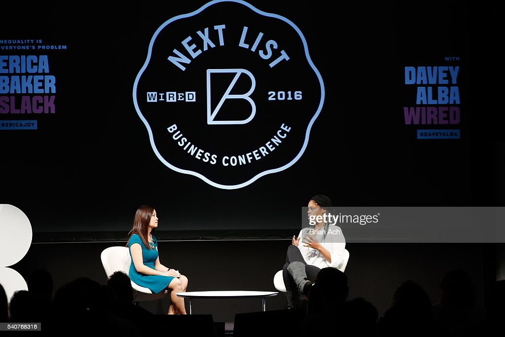 Staff Writer at WIRED Davey Alba (L) and Build and Release Engineer at Slack Technologies, Inc Erica Baker speak on stage during the 2016 Wired Business Conference on June 16, 2016 in New York City.