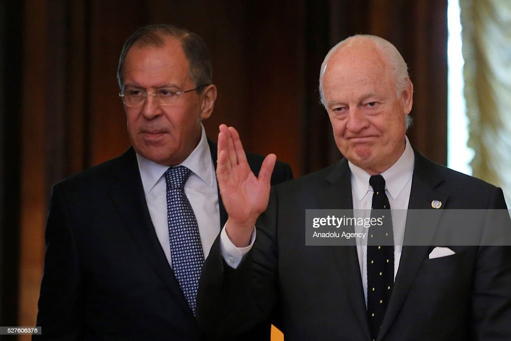 Staffan de Mistura (R), UN Secretary-General's Special Envoy for Syria and Russia's Foreign Minister Sergei Lavrov (L) meet at the Russian Foreign Ministry's guest house in Moscow, Russia on May 3, 2016.