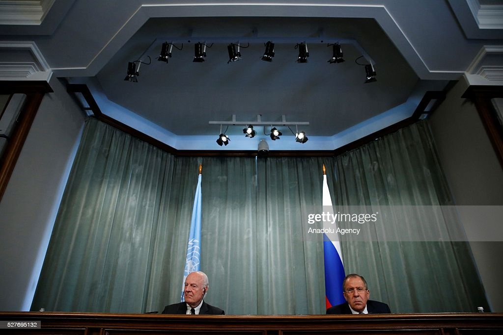 Staffan de Mistura (L) , UN Secretary-General's Special Envoy for Syria and Russia's Foreign Minister Sergei Lavrov (R) hold a joint press conference after their meeting at the Russian Foreign Ministry's guest house in Moscow, Russia on May 3, 2016.