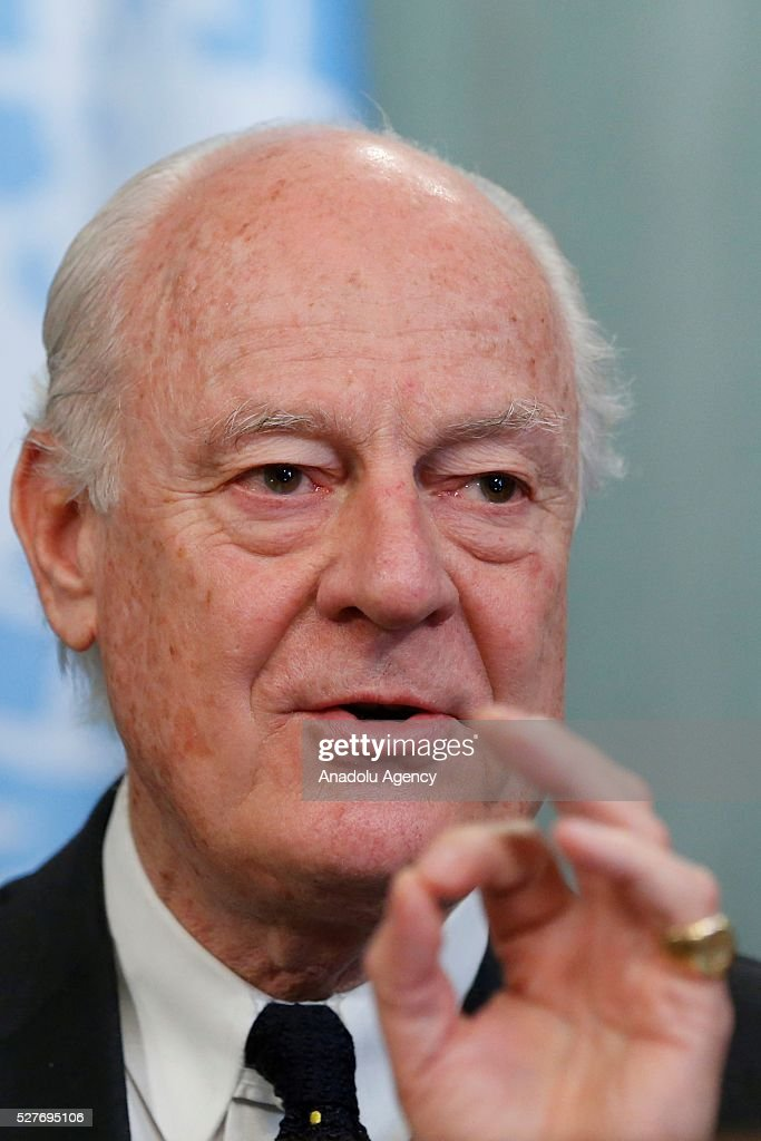 Staffan de Mistura , UN Secretary-General's Special Envoy for Syria is seen during a joint press conference with Russia's Foreign Minister Sergei Lavrov (not seen) after their meeting at the Russian Foreign Ministry's guest house in Moscow, Russia on May 3, 2016.