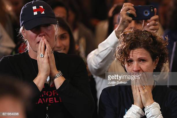 Staffers and supporters react as former Secretary of State Hillary Clinton concedes the presidential election at the New Yorker Hotel on November 9...